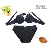 ZHANGYONG*Bikini 3 piece sexy steel and small particles of chest split Swimsuit Model 4 corner trousers ,XL, Black 2 piece set