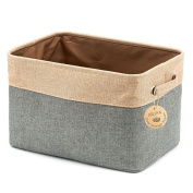 Ailina Collapsible Large Cotton Linen Clothing Storage Organiser Open Top Canvas Storage Boxes 38x27x24cm