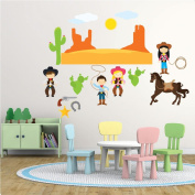 Cow boy girl Nursery Wall Sticker Decal REPOSITIONABLE Fabric REMOVABLE Vinyl Nursery Kids Room Children Bedroom Wall Art Printed Stickers Home Décor Mural Kindergarten Wall Decoration