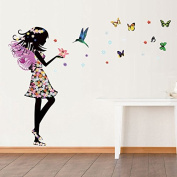 FYOUYOU Girls Butterfly Wall Sticker for Living Room Bedroom Sofa Tv Background Wall 140*110Cm