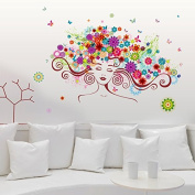FYOUYOU Beauty Fairy Wall Stickers Removable for Glass Door Living Room Bedroom Decoration 85*56Cm