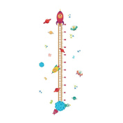 Winhappyhome Space Rocket Children's Height Measurement Chart Wall Art Stickers for Kids Room Living Room Nursery Background Removable Decor Decals