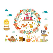 Winhappyhome Happy Animals Love Wall Art Stickers for Kids Room Living Room Nursery Background Removable Decor Decals
