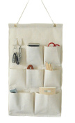 CaLeQi Linen/Cotton Fabric Wall Door Closet Hanging Storage Bag Case 7 Pockets with Hooks
