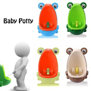 CALISTOUK Fashion Frog Shaped Design Kids Potty Toilet Training Bathroom Accessories Urinal for Boys Pee,Yellow