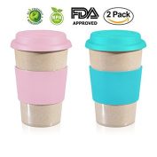 470ml VALUE PACK PINK + BLUE 1.9lY Reusable To Go Travel Mugs Leak proof with Lid & Heat Resistant Non slip Grip. Made with 100% Organic Eco friendly Biodegradable Material FDA approved BPA free