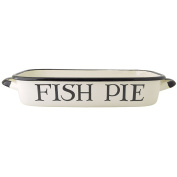 "EMMA BRIDGEWATER Black Toast - 32x19cm/2.5L Roaster Black & White Enamel ""Fish Pie Roast Lamb"""
