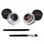 Demarkt Waterproof 2 in 1 Gel Eyeliner Set Beauty Cosmetics Make Up Long-wear Gel Eyeliners Brown and Black with Makeup Eyebrow Brush