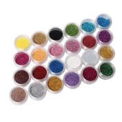 Ardisle 24 Sparkle Glitter Dust Powder Nail Art Decoration Pots Dust Pots Coloured