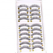 Bluelans® 10 Pairs Long Cross False Eyelashes Makeup Natural Fake Black Eye Lashes