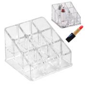 Women's Fashion Modern . Clear Acrylic 9 Tube Lipstick Holder Cosmetic Makeup Organiser Box Case