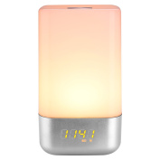 Mabor Bedside Lamp Wake Up Light Alarm Clock with Sunrise Simulation, 5 Natural Sounds, Touch Sensor Multicolor Night Light
