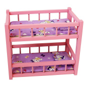 Obique Children's Wooden Toy Pink Pine Bunk Bed for Two Dolls for 38cm Dolls, with Mattresses and Pillows