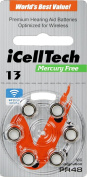 iCellTech Mercury Free Hearing Aid Batteries Size 13