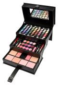 BriConti Professional Makeup Large Storage Vanity Case Set, Black Beauty, 82-Piece
