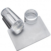 Demarkt Transparent Silicone DIY Nail Art Stamper Scraper Cap Stamping Manicure Print Tool Set of 2