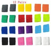 Bluesky 12 Pairs of Different Colour Colourful Cotton Sweat Sports Basketball Football Wristband Wrist Sweatbands Wrist Bands