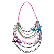 Totally 80's Multiple Chain Bow Neon Rave Party Necklace Fancy Dress Accessory