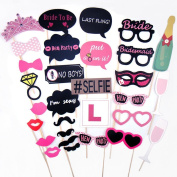 CCINEE 30 Piece Photo Booth Props For Wedding Hen Night Do Party Game Accessories Photo Props