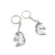 5 Pieces Keyring Key Ring Q1YO2 Horse Head Keychain Automotive Car Door Key Tags Findings Charms Chains