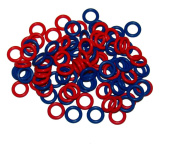 (100 Pack) Soft Stitch Ring Markers, Red & Blue