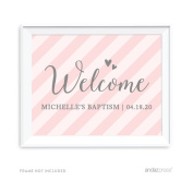 Andaz Press Blush Pink and Grey Baby Girl Baptism Collection, Personalised Party Signs, Welcome, 22cm x 28cm , 1-Pack, Custom Made Any Name