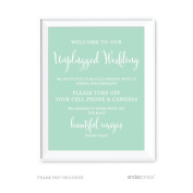 Andaz Press Wedding Party Signs, Mint Green, 22cm x 28cm , Welcome to Our Unplugged Ceremony Turn Off Phones Sign, 1-Pack