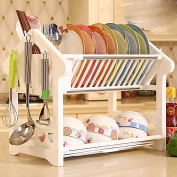 MDRW-Plastic double dish rack dish chopsticks, dishes, kitchen drain cupboard rack,Water tray