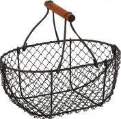 Oval Wire Metal Egg Baskets Vintage Storage Rustic Brown Chic Trugs Wood Handle
