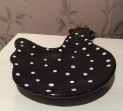 Black & White Polka Dot Cockerel Ceramic Tea Bag Rest Holder
