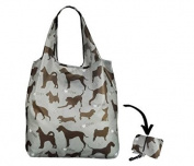 Re-Uz Lifestyle Shopper Foldable Reusable Shopping Grocery Bag - I Love Dogs Steel