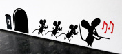 """Mouse Hole Wall Sticker """" The Pied Piper Mouse """" Skirting Board Wall Art Sticker Vinyl Decal """" 19cm x 5cm..Black with Red Notes.. UKSELLINGSUPPLIERS"""
