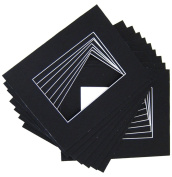 10 of 18x24 Black Pre-cut Acid-free whitecore mat for 13x19 + back+bag