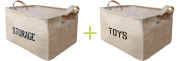 Youdepot Large Jute Storage Bin 17 x 33cm x 25cm Large Enough For Toy Storage - Storage Basket For Organising Baby Toys, Kids Toys, Baby Clothing, Children Books, Gift Baskets -2 Pcs Storage & Toys Bin