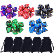eBoot 35 Pieces Polyhedral Dice Double-Colours Polyhedral Game Dice for RPG Dungeons and Dragons Pathfinder with 5 Pack Black Pouches, 5 Sets of d20, d12, 2 d10 (00-90 and 0-9), d8, d6 and d4