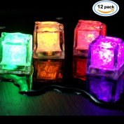 NHsunray Submersible Decorative Colour Changing LED Ice Cubes-12 Pack Multi-colour Flash Light Up Drinking Wine Wedding Party Decoration