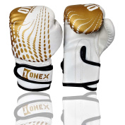 Synthtic Leather Junior 120ml Boxing Gloves gold-white for Kids Fighting Training Muay Thai MMA Gloves