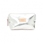 CAVALCANTI Leather makeup bag - Silver