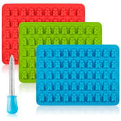 Ice Cube Trays, Alaman 3 x 50 Cavity Silicone Bears Moulds With a Bonus Easy Fill Dropper, Perfect for Making Candy, Chocolate, Jelly, Ice Cube Tray, Soap and More.