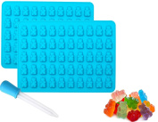 Ice Cube Trays, Alaman 2 x 50 Cavity Silicone Bears Moulds With a Bonus Easy Fill Dropper, Perfect for Making Candy, Chocolate, Jelly, Ice Cube Tray, Soap and More.