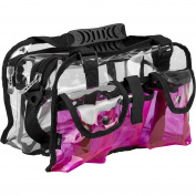 Casemetic Clear Set Bag Double Zippered Storage Compartment with 3 External Pockets and Shoulder Strap, Pink