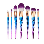 7pcs/Set Spiral Makeup Brushes Set Foundation Eyshadow Blusher Powder Blending Cosmetic Brush Kit Diamond Rainbow Handle