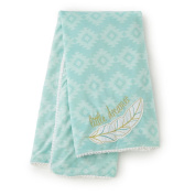 Adorable Levtex Baby Little Feather 30x40 Blanket in Aqua for Babies 1-24 Mos.