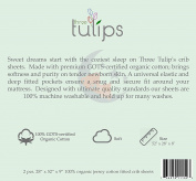 Three Tulips Fitted Crib Sheet 100% Organic Jersey Cotton Knit 2 Pack Set - Stars, Clouds, Bears and Moons