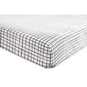 Babyletto Tuxedo Grid Fitted Crib Sheet, Grey
