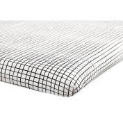 Babyletto Tuxedo Grid Mini Crib Sheet, Grey