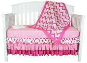 Bacati Zig Zag/Polka Dots 4-in-1 Cotton Baby Crib Bedding Set, Pink