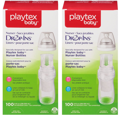 Playtex Baby Nurser Drop-Ins Baby Bottle Disposable Liners, Closer to Breastfeeding, 240ml - 200 Count