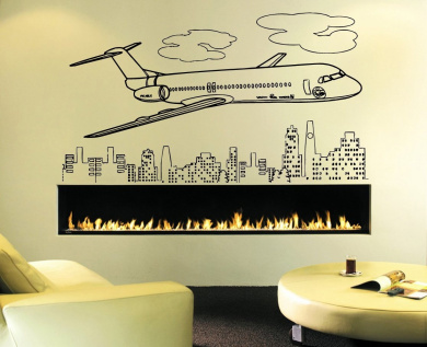 Wall Decal Sticker Bedroom Aeroplane Wings Sky Clouds City View Kids Boys Teenager Room 696b