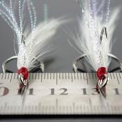 Bazaar 50pcs Fishing Treble hooks with Feather Bass hooks #4